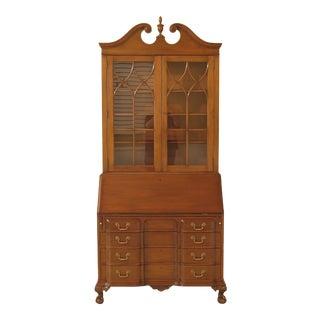 1960s Chippendale Kittinger-Biggs Ball & Claw Mahogany Secretary Desk Bookcase For Sale