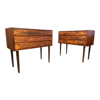 Pair of Vintage Danish Mid Century Modern Rosewood Nightstands - Chest of Drawers For Sale