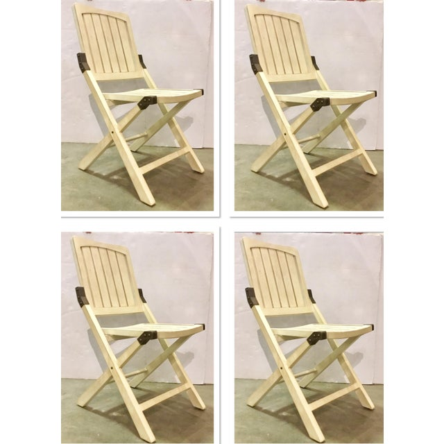 Transitional Cream Folding Style Set of Four Chairs For Sale In Atlanta - Image 6 of 6