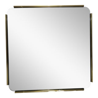 Modernist Brass Trim Square Mirror