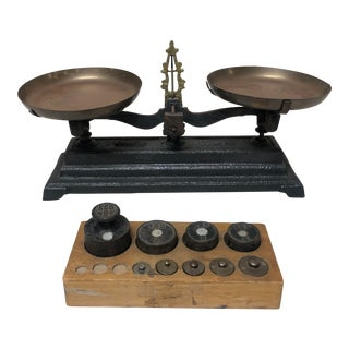 Antique Balance Scale With Weights From the Brittany Region of France For Sale