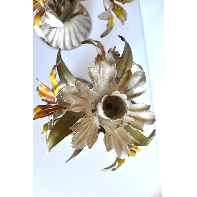 White Vintage Italian Tole Lilies Flowers Painted Tole Candle Holders - a Pair For Sale - Image 8 of 10