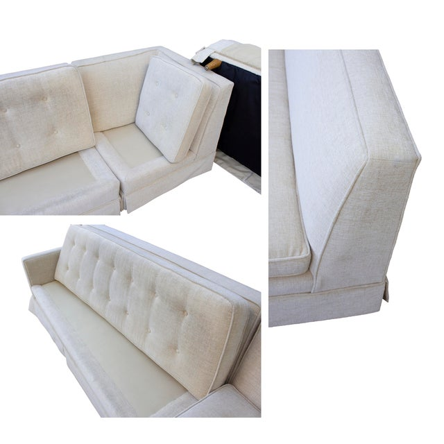 Tufted 3 Piece Vintage Sectional Sofa- Recently Reupholstered For Sale - Image 10 of 13