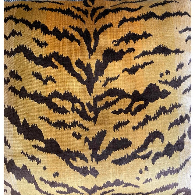 """2020s Scalamandre """"Tiger"""" Brown on Gold"""" Velvet 22"""" Pillows-A Pair For Sale - Image 5 of 6"""