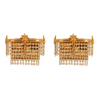 1960s Two Tiers Gilt Brass Swarovski Crystal Sconces - a Pair For Sale