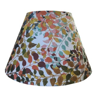 "Confetti Leaves 18"" Drum Lamp Shade in Natural For Sale"
