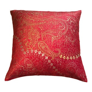 Red, Gold & Silver Paisley Pillow