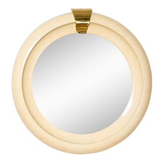 Late 20th Century Tessellated Bone and Brass Round Mirror For Sale