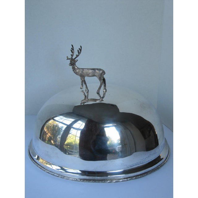 Silver-plate Meat Dome and Tray with Stag Handle For Sale - Image 4 of 10