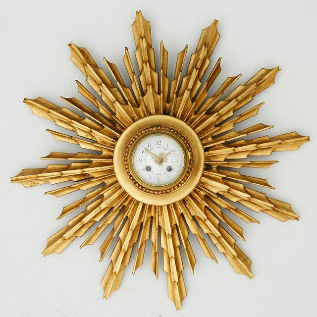 Vintage Gilded Wall Clock For Sale In Greensboro - Image 6 of 6