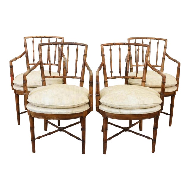 Drexel Faux Bamboo Chinoiserie Chippendale-Style Armchairs - Image 1 of 6