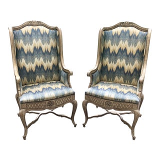 Auffray Louis XV Style Flame Fabric Wingback Chairs- a Pair For Sale