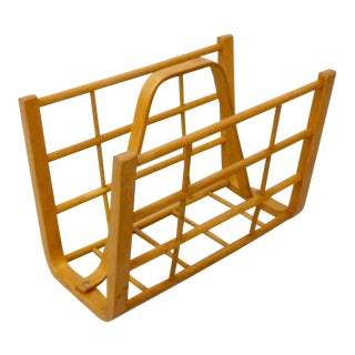 Alvar Aalto Attributed Bent Wood Magazine Stand Rack For Sale