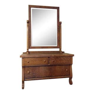 Antique Tiger Oak Dresser With Swing Mirror For Sale