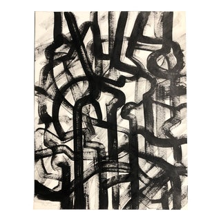 Original Wayne Cunningham Black & White Abstract Painting For Sale