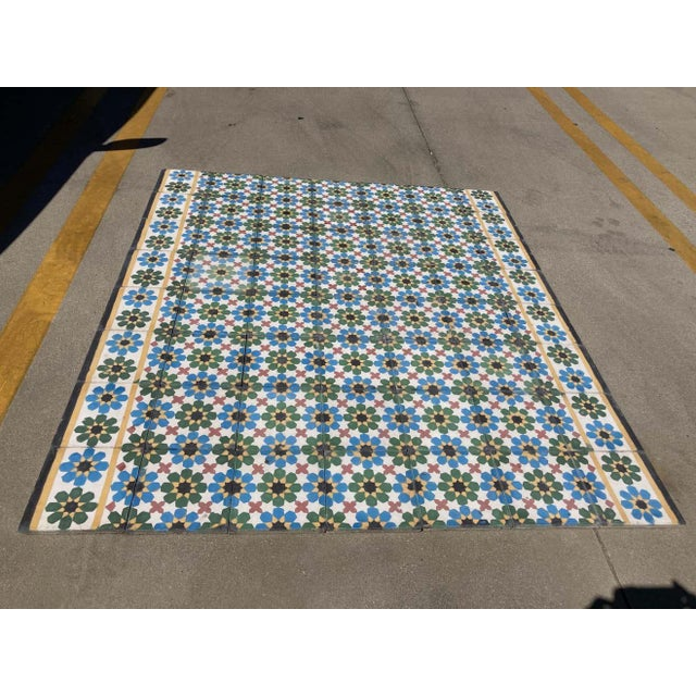 1990s Moroccan Hand-Crafted encaustic Cement Tile with Traditional Fez Moorish Design - Set of 56 For Sale - Image 12 of 13