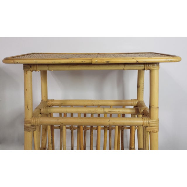 Wood Vintage Mid Century Bamboo Rattan Magazine Rack Side Table For Sale - Image 7 of 8