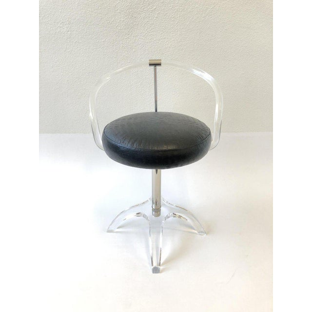 1960s Polish Nickel and Lucite Swivel Vanity Stool by Charles Hollis Jones For Sale - Image 5 of 9
