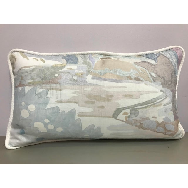 2010s Beacon Hill Decorative Pillows Soo Locks Frost Pattern on Linen Lumbar Pillows - a Pair For Sale - Image 5 of 9