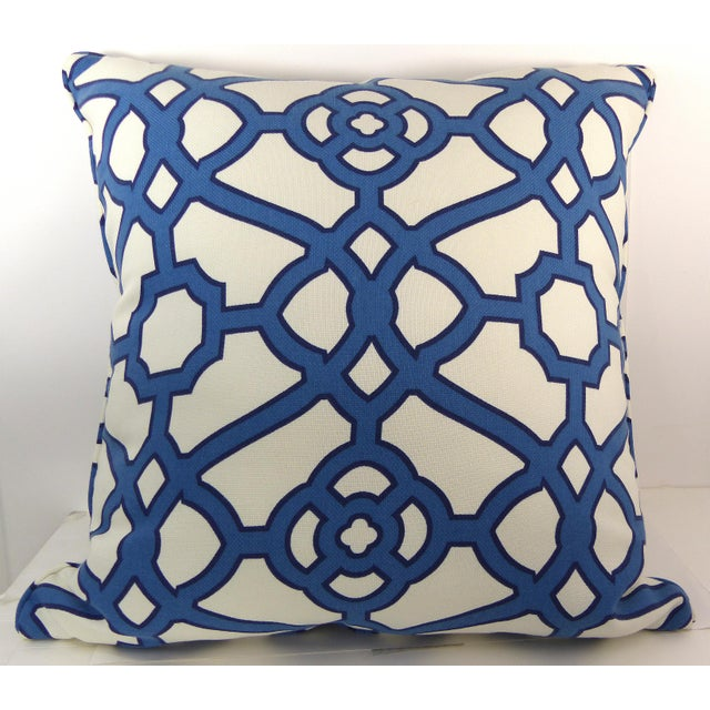 Blue & White Cotton Latice Style Pillow For Sale - Image 5 of 5