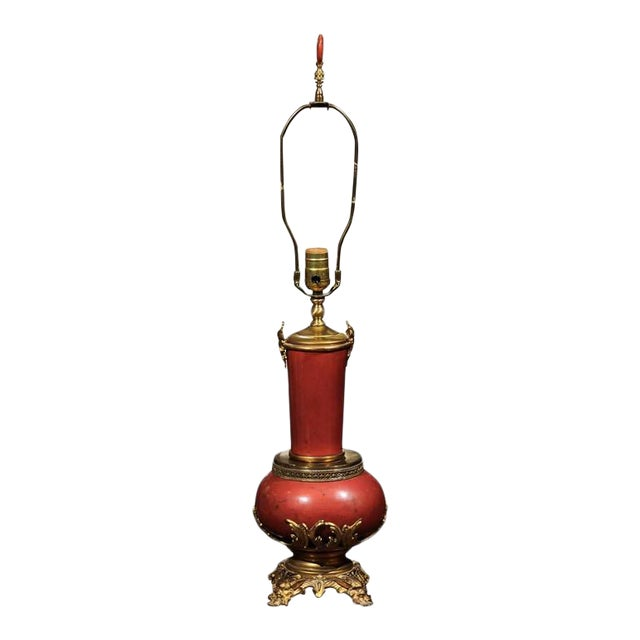 Coral Faux Marble Vase Shaped Lamp Mounted in Bronze and Brass For Sale