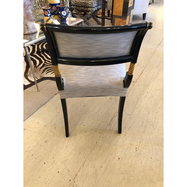1990s Vintage Karges Regency Black and Gold Armchairs Dining Chairs- Set of 6 For Sale In Philadelphia - Image 6 of 13