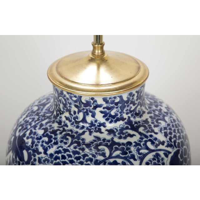 Blue 19th Century Chinese Blue & White Porcelain Vase now a Lamp For Sale - Image 8 of 11