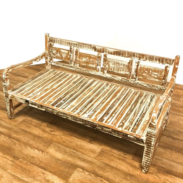 Boho Chic Reclaimed Wood Daybed Bench For Sale - Image 3 of 6
