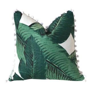 Linen Banana Leaf Pom Pom Pillow Cover - 22x22 For Sale