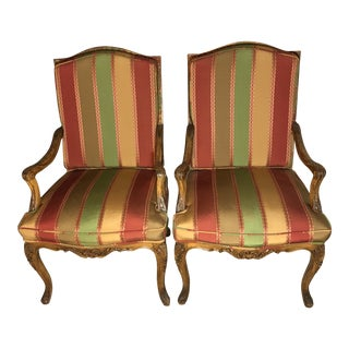 19th Century French Bergere Carved Walnut Arm Chairs - a Pair For Sale