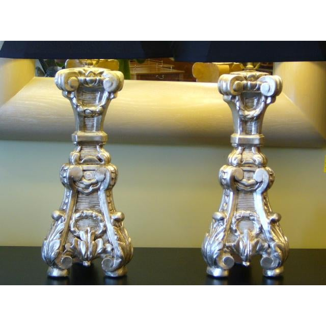 Baroque Late 18th Century Italian Silver Gilt Altar Pricket Table Lamps - A Pair For Sale - Image 3 of 11