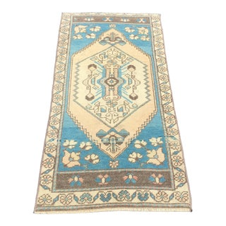 1960s Vintage Turkish Small Rug - 1′9″ × 3′5″ For Sale