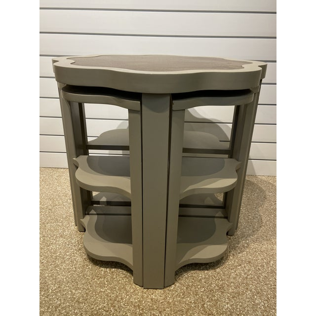 Rare Vanguard ostrich leather inlaid nesting tables. Painted gray with gray ostrich leather inlay. Gray paint has a...