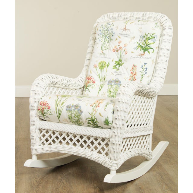 High Quality White Painted Wicker Rocker with Cushions by Lane Venture Store Item#: 25122