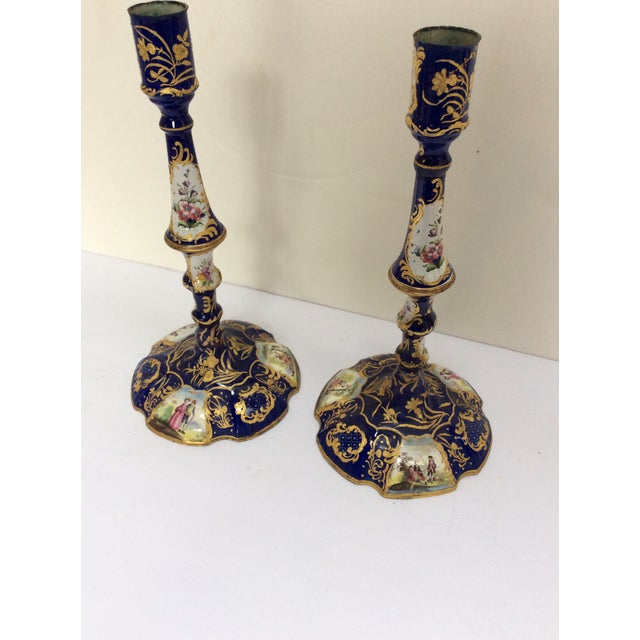 Paint English Enamel Candlesticks - A Pair For Sale - Image 7 of 7