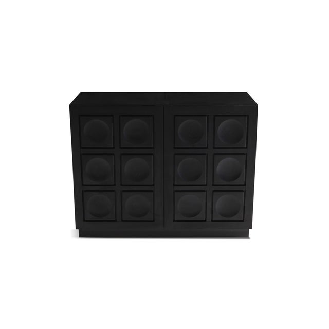 Black Geometric Two-Door Cabinet in Ebonized Oak For Sale - Image 8 of 9