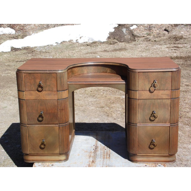 Antique Art Deco Walnut Office Desk Vanity United Furniture Co. c 1930's For Sale - Image 11 of 11