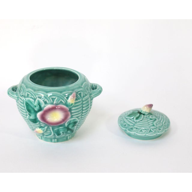 1980s 80's Majolica Luncheon or Dessert Tea Set, Morning Glory Pattern Set of 11 For Sale - Image 5 of 11