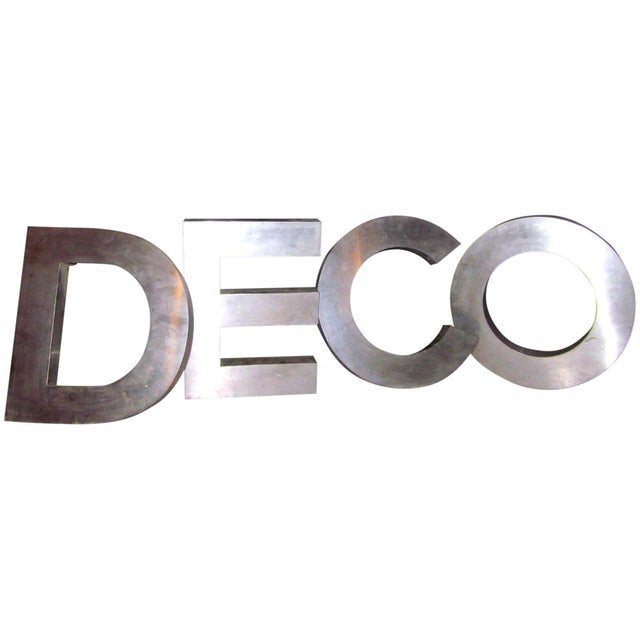 "Vintage""Deco"" Stainless Steel Phrase Display Letters Advertising Signage For Sale - Image 9 of 9"
