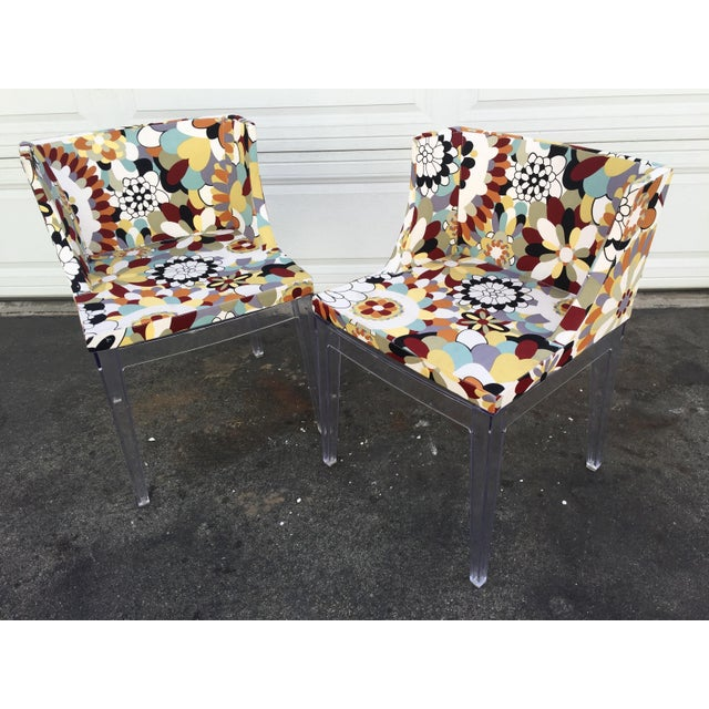 Floral Chairs With Acrylic Base - a Pair For Sale In Los Angeles - Image 6 of 6