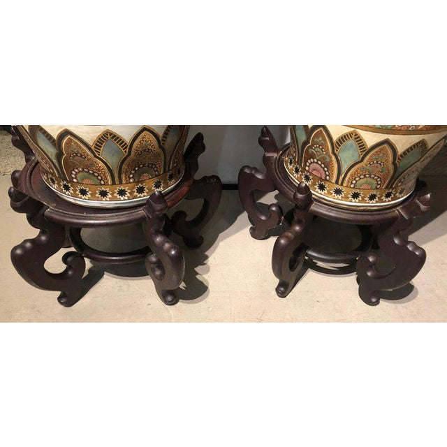 Pair of Chinese Palatial Vases Urns on Teak Pedestals Bird Decorated Signed Base For Sale - Image 11 of 13