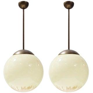 Italian Murano Anemone Glass Globe Pendants by Santiallan for Venini For Sale