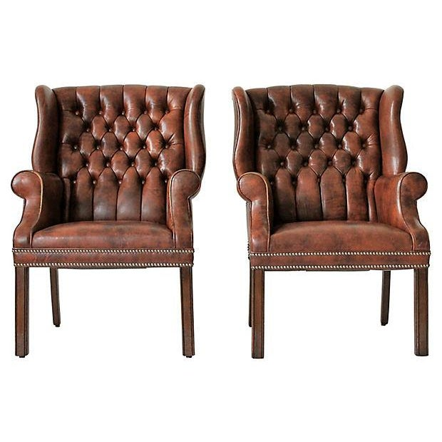 Tufted Leather Wingback Chairs - A Pair - Image 1 of 10