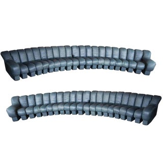 De Sede Ds-600, Non-Stop Sofas, Pair 42 Sections in Charcoal Blue Leather For Sale