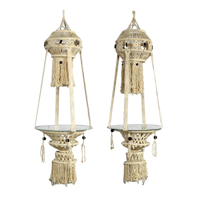 Vintage Bohemian White Macramé Hanging Tables With Round Glass Tops - a Pair For Sale - Image 14 of 14
