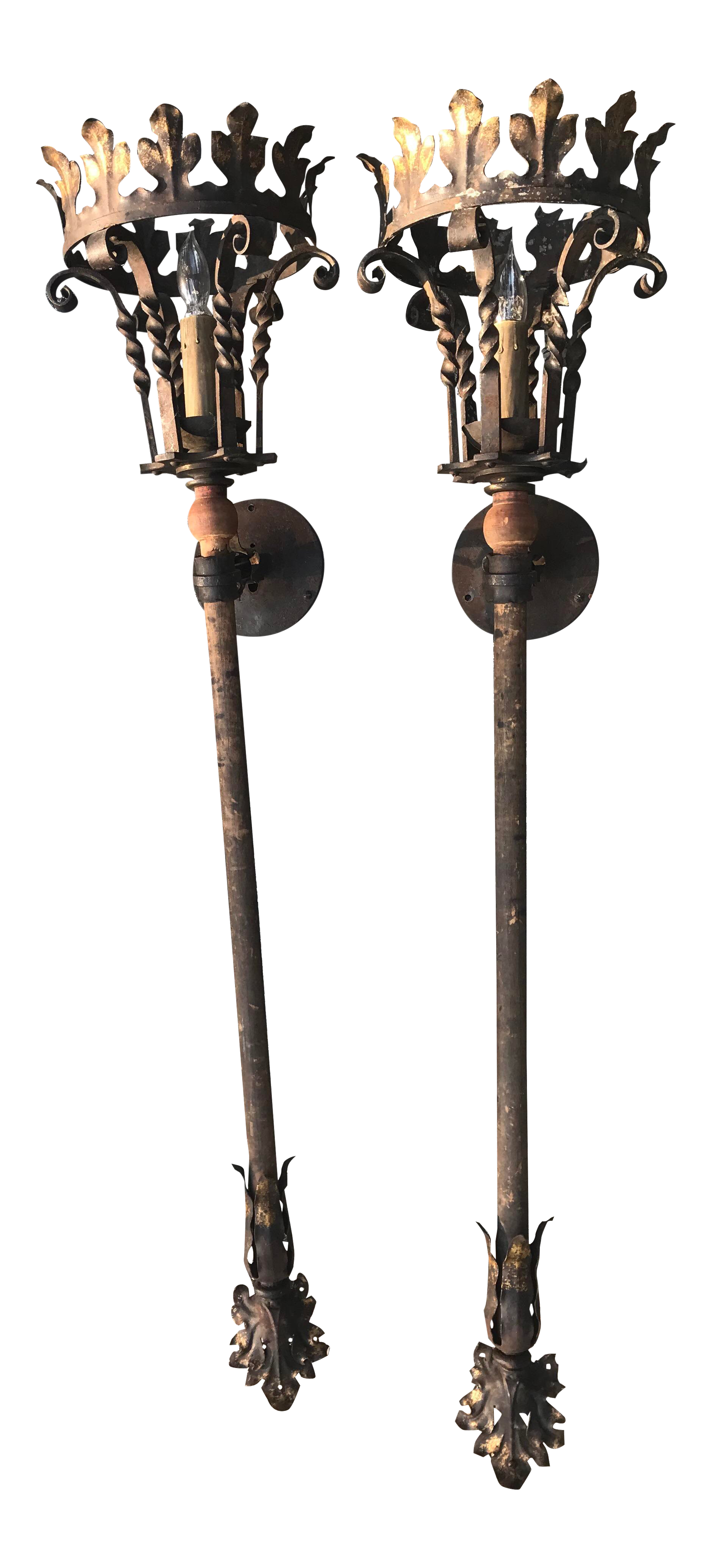 gothic wall sconce rod iron wall 1920s antique gothic wall sconces pair for sale chairish