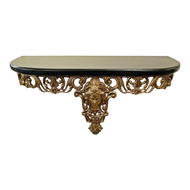 Early 20c French Art Nouveau Style Brass Wall Bracket Shelf For Sale