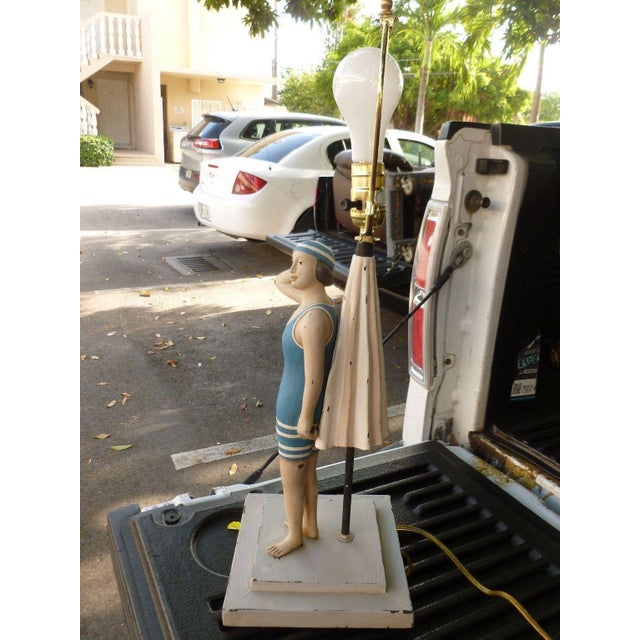 1990s Vintage Figure in Swimming Suit Lamp For Sale In Miami - Image 6 of 7