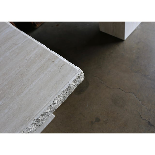 1980s Vintage Travertine Side Tables- A Pair For Sale - Image 10 of 13