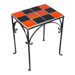 Iron Side Table With Ceramic Tiles For Sale